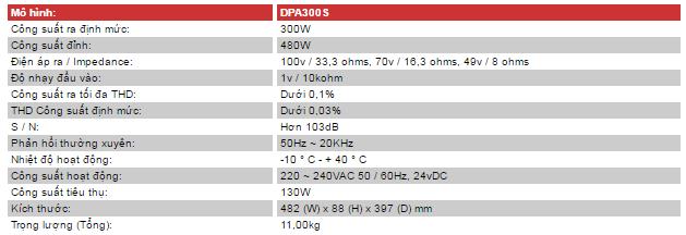 Thông số kỹ thuật của Amply DPA-300S