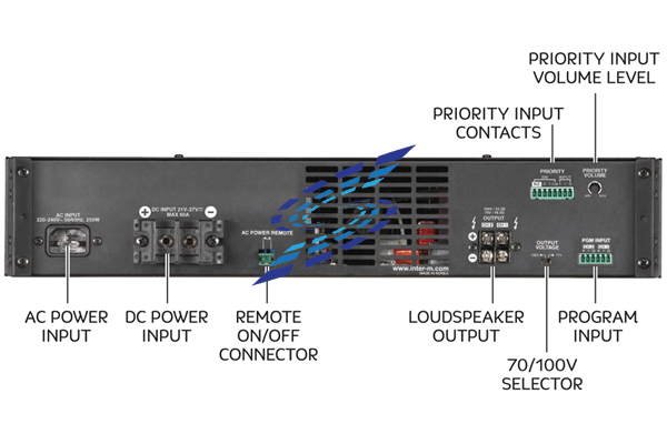 Các cổng tín hiệu ở Mặt sau của Amply Inter M DPA-600D