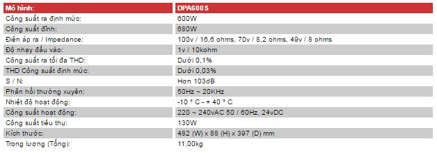 Thông số kỹ thuật của amply inter M DPA-600S