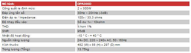 Thông số kỹ thuật của amply inter m dpa-300d