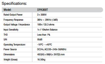 Thông số kỹ thuật của Amply DPA-300T